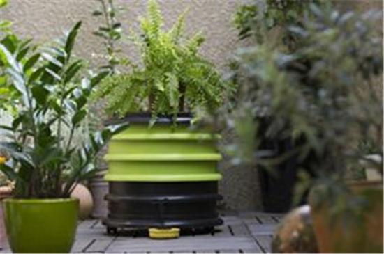 wormenbak met plantendeksel in de stadstuin
