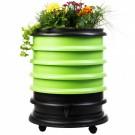 groene wormenbak met 4 compostringen en plantenbak