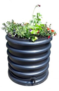 wormenbak 4 ringen met plantenring zwart
