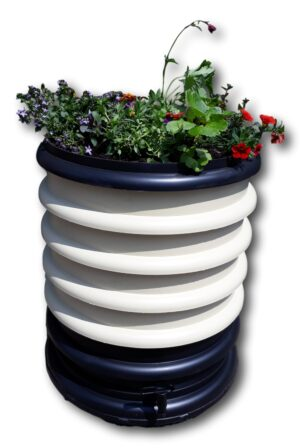 Wormenbak wit 4 compostringen en plantenring