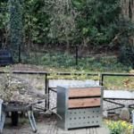 staal-hout compostbak 200 liter buiten
