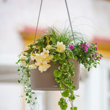 hangende bloempot taupe met waterreservoir